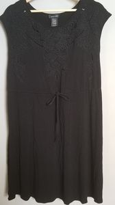 Simple Black Dress with Floral Embroidery